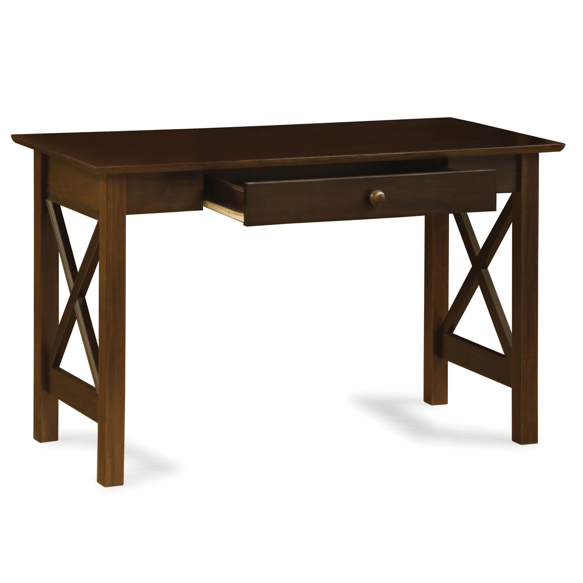 Atlantic Furniture Lexi Walnut Wood Writing Desk With Drawer (Color),  Brown, Size