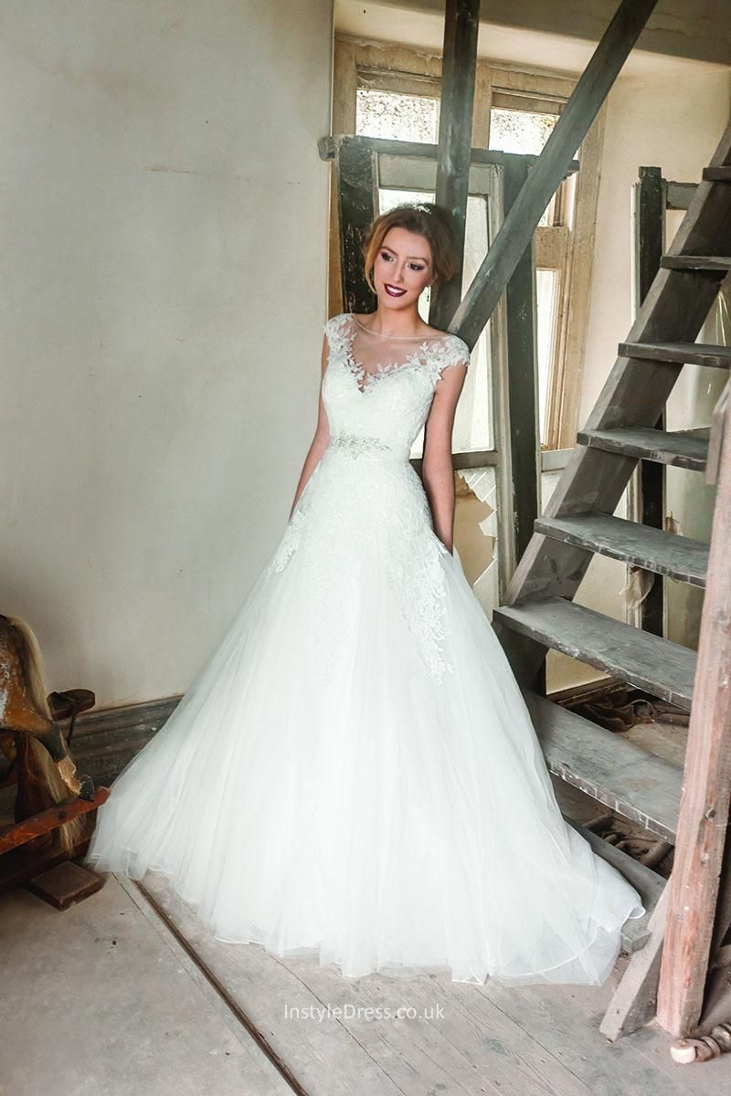Illusion sheer tulle cap sleeves lace bodice a line wedding dress illusion sheer tulle cap sleeves lace bodice a line wedding dress ombrellifo Images