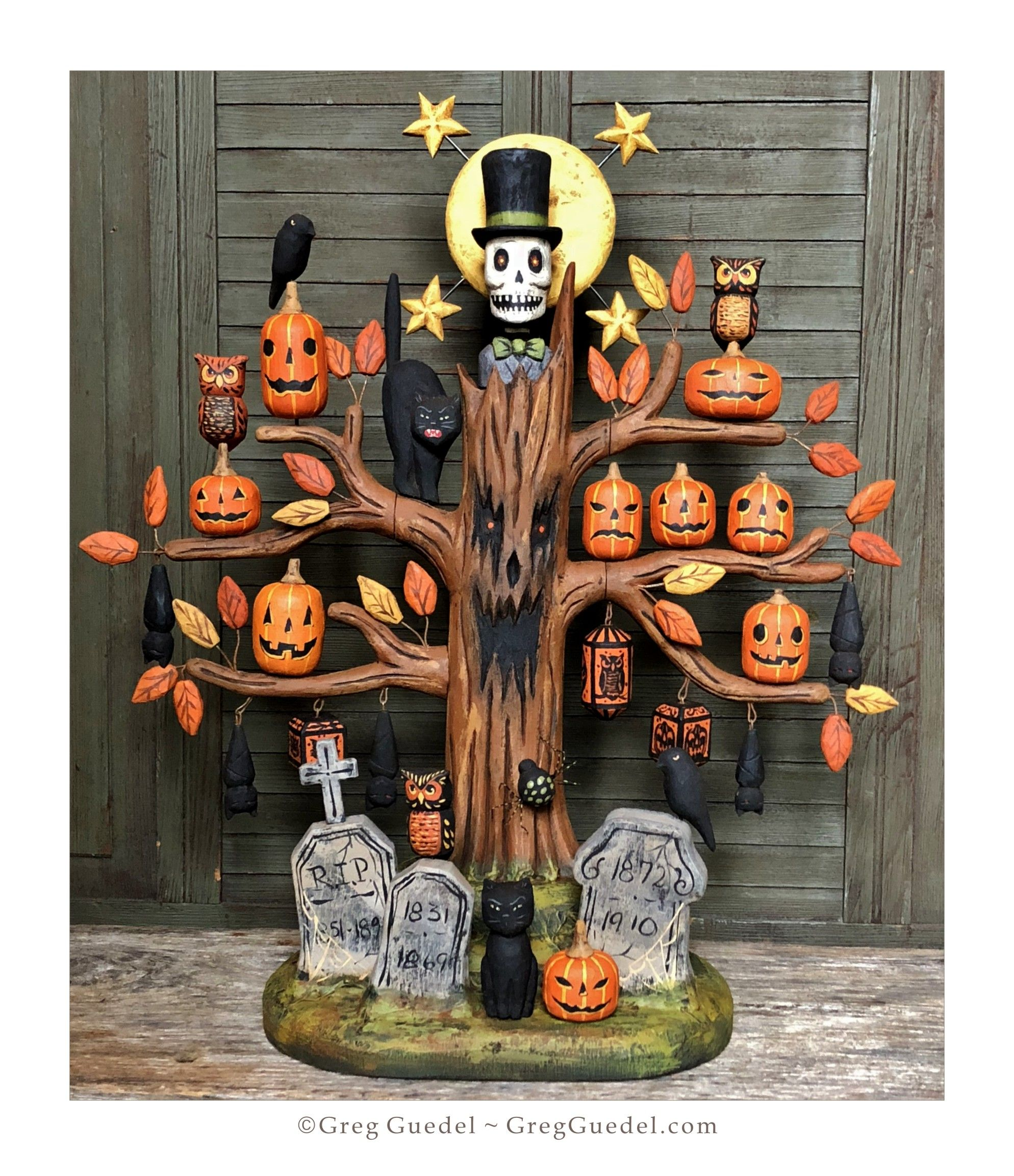 Halloween Tree Wood Carving By Greg Guedel Halloween Wood Crafts Halloween Fairy Halloween Folk Art