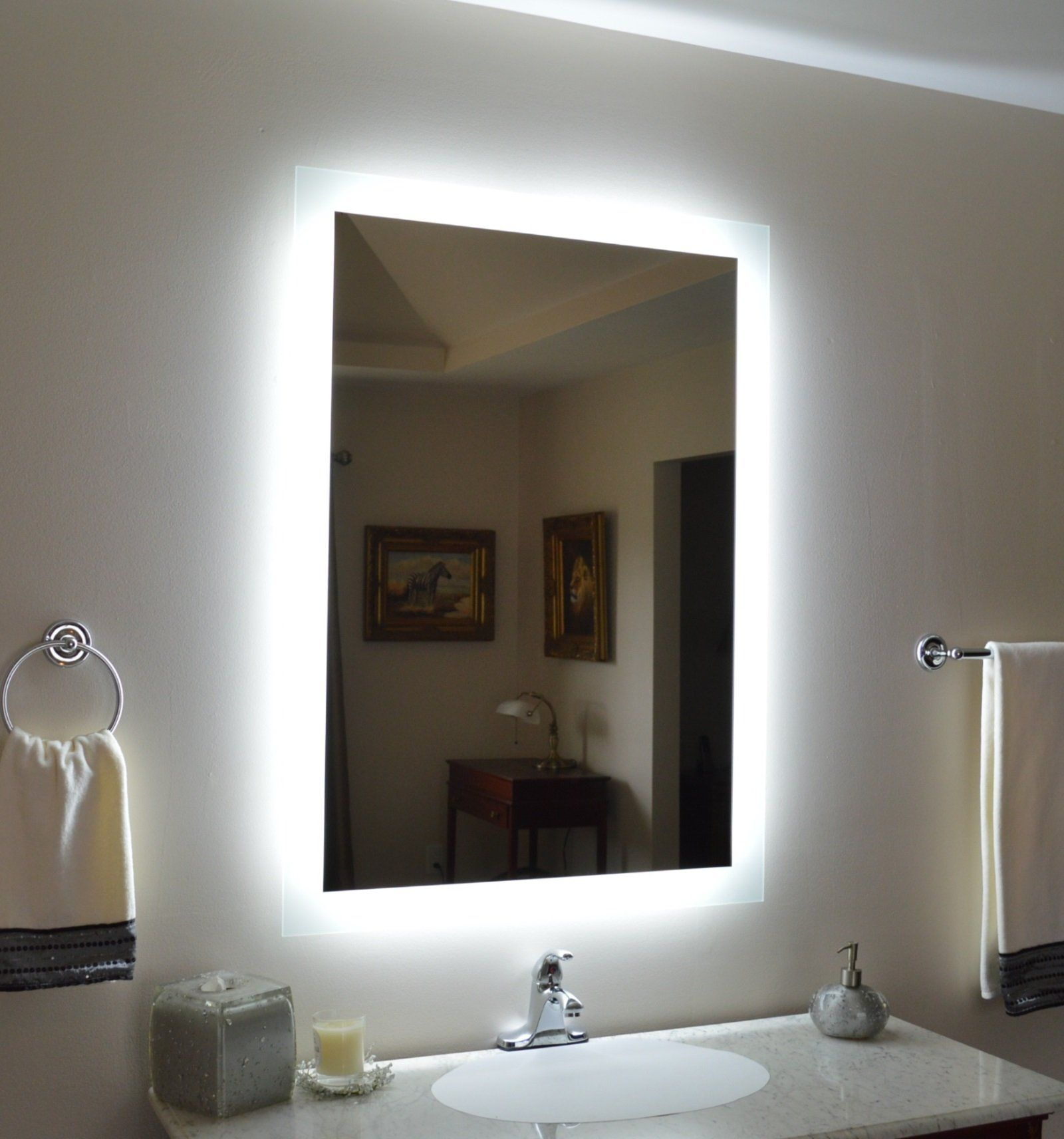 Side Lighted Led Bathroom Vanity Mirror 32 Wide X 44 Tall