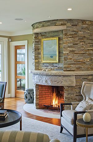 Constructed Of Virginia Ledgestone The Column Measures 7 Ftin Custom Chimney Living Room Design Design Ideas