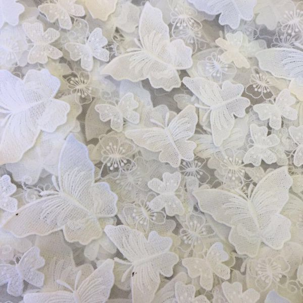 Awesome Newest Luxury D butterfly lace fabric french lace wedding dress lace fabric fashion