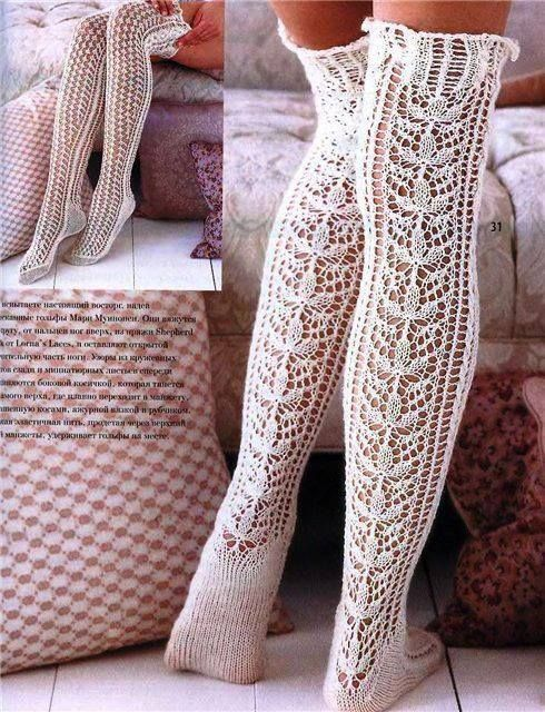 love these crocheted knitted lace-like white stockings  5df3e74a8e