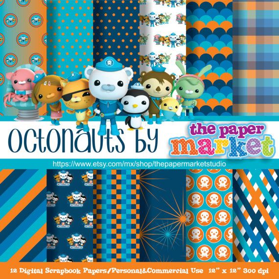 Octonauts Digital Papers Polka Dot Backgrounds Characters Lines