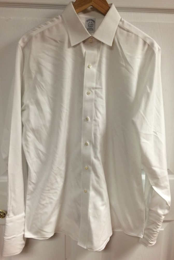 Brooks Brothers Solid White Men's Long Sleeve Button Up Dress Shirt Size 16-34  #BrooksBrothers
