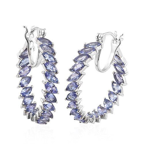 Tjc Tanzanite Hoop Earrings For Women In Platinum Plated Sterling Silver