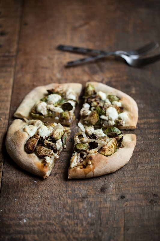 Roasted Brussels Sprouts and Goat Cheese Pizza #cheesepizza