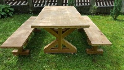Casa Padrino Gartenmöbel Set Rustikal - Tisch + 2 Garten Bänke ...