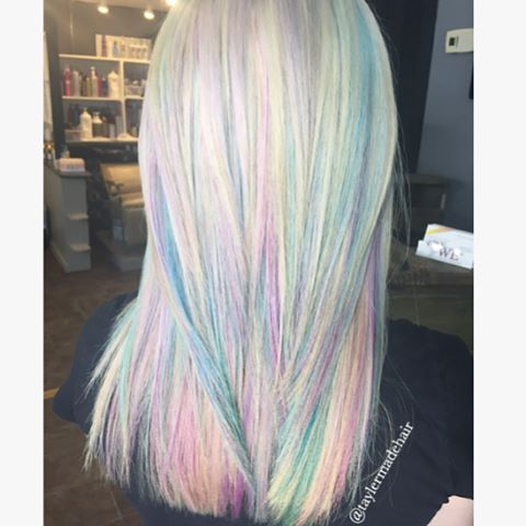 Opal Hair Color Blonde Rainbow Unicorn Hair Mother Of Pearl Hair Color Platinum Hair Color Balayage Rainbo Mermaid Hair Color Opal Hair Winter Hair Color