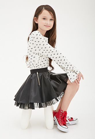 3928730582c348 Zippered Faux Leather & Tulle Skirt (Kids) | FOREVER21 girls - 2000099173