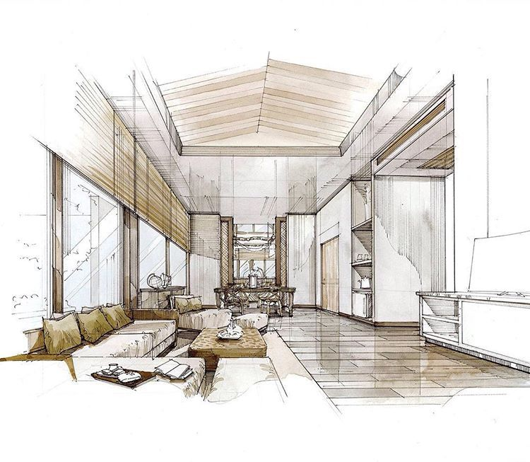 Pang Thunyaporn ガーぺン On Instagram Resort Sketch 2 Pangpangworks Inkcolour Thesis การออกแบบภายใน ตกแต งภายใน ด ไซน