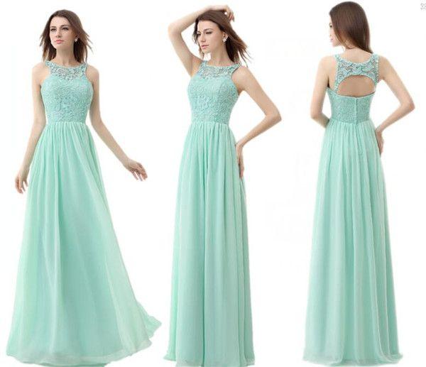 Cheap Mint Green Chiffon Cheap Bridesmaid Dresses 2015 Jewel Neck A ...