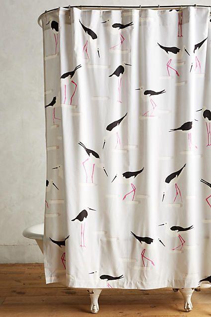 Anthropologie Beach Gull Shower Curtain