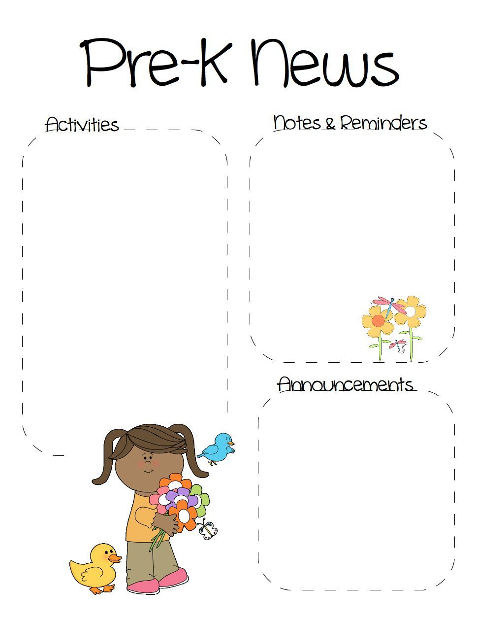 spring pre k newsletter template the crafty teacher