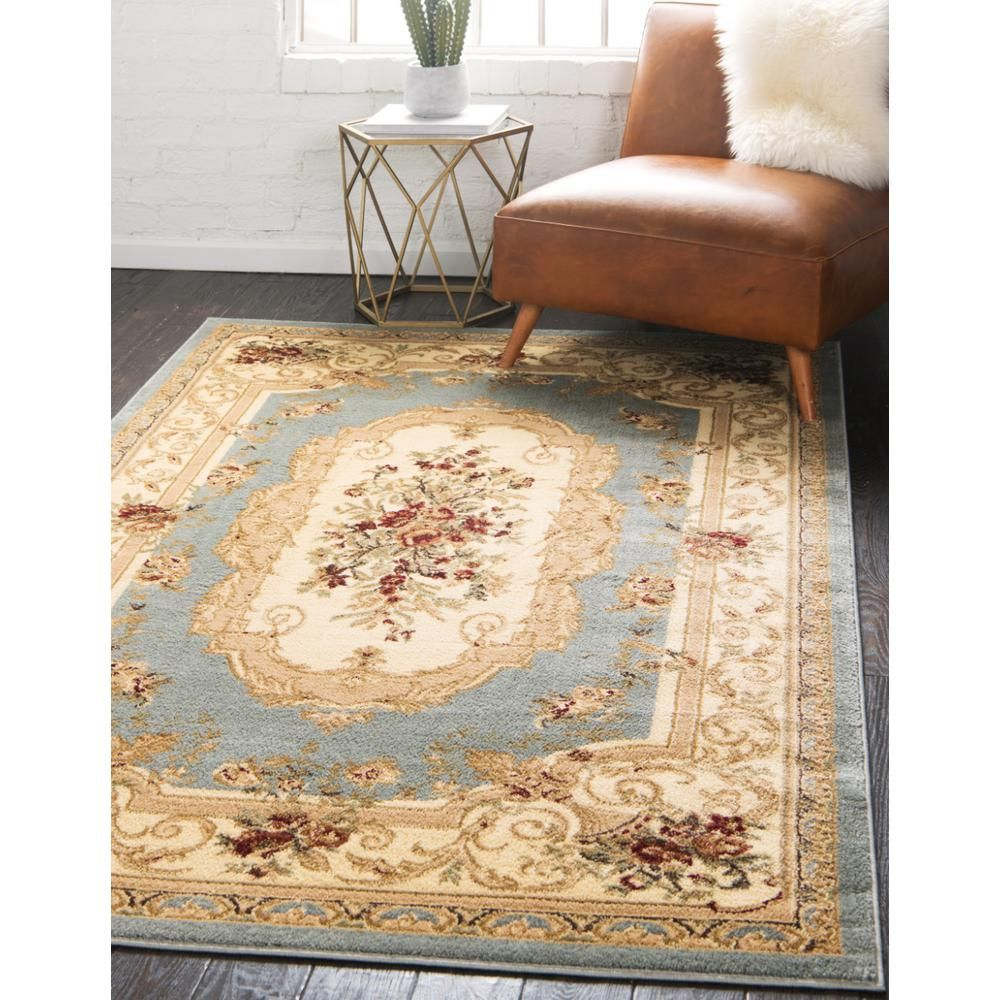 Unique Loom Versailles Henry Light Blue 5 0 X 8 0 Area Rug 3123531 The Home Depot Area Rugs Aubusson Rugs Unique Loom