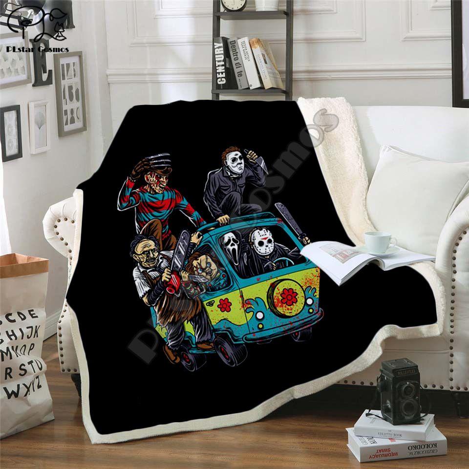 3d printed horror characters throw blanket horror room