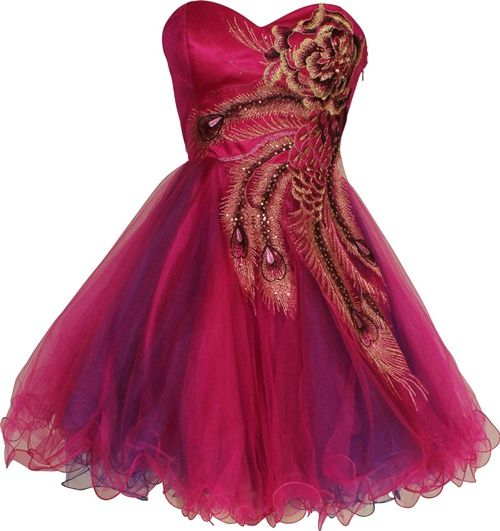 metallic pink peacock party dress