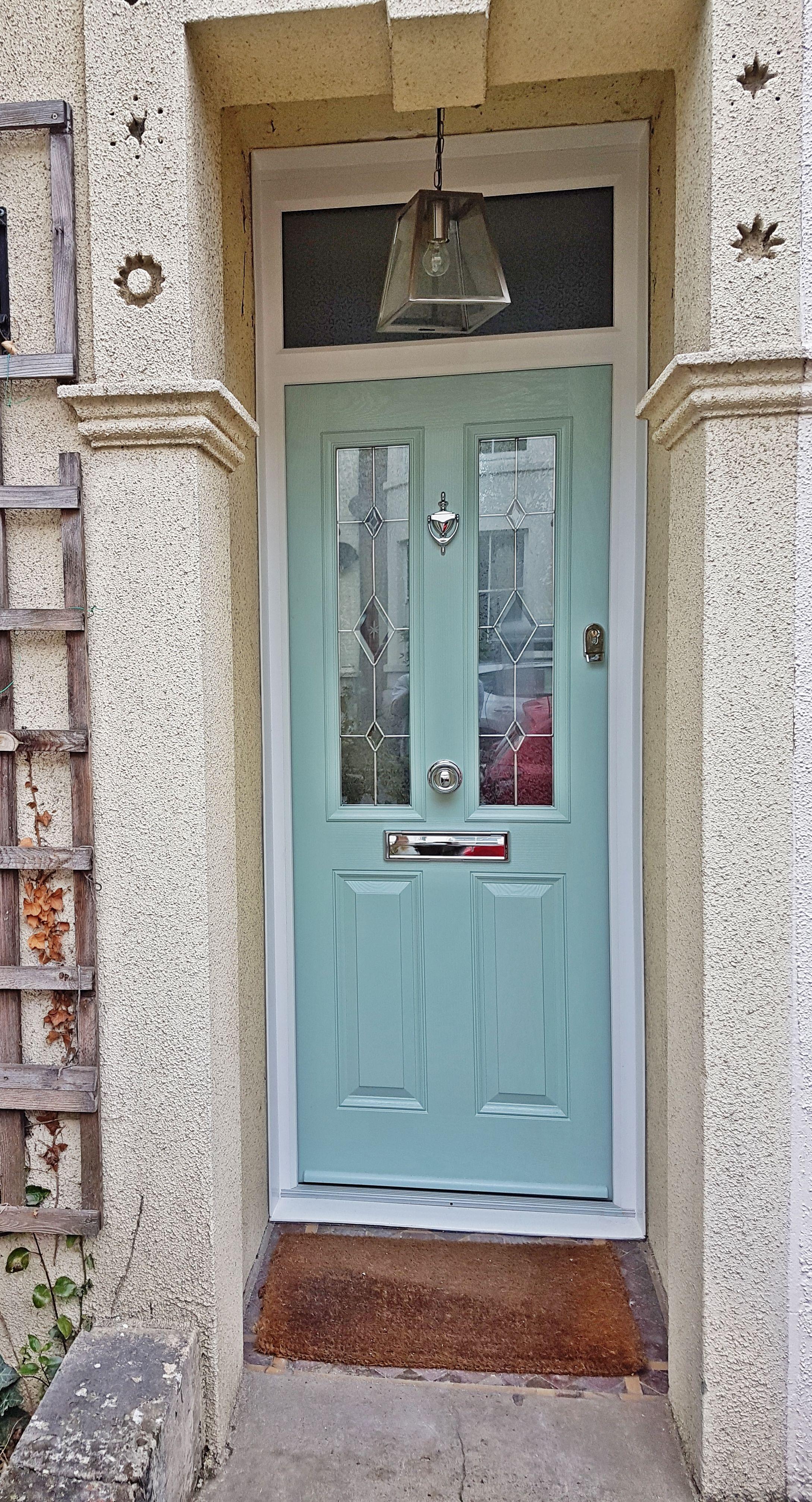 Duck Egg Blue Composite Front Entrance Door With Overhead