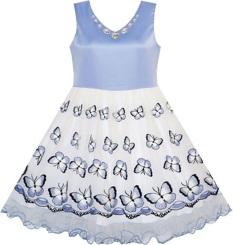 Mädchen Kleid Blume bestickte Schmetterling Diamant Festzug Hochzeit ...