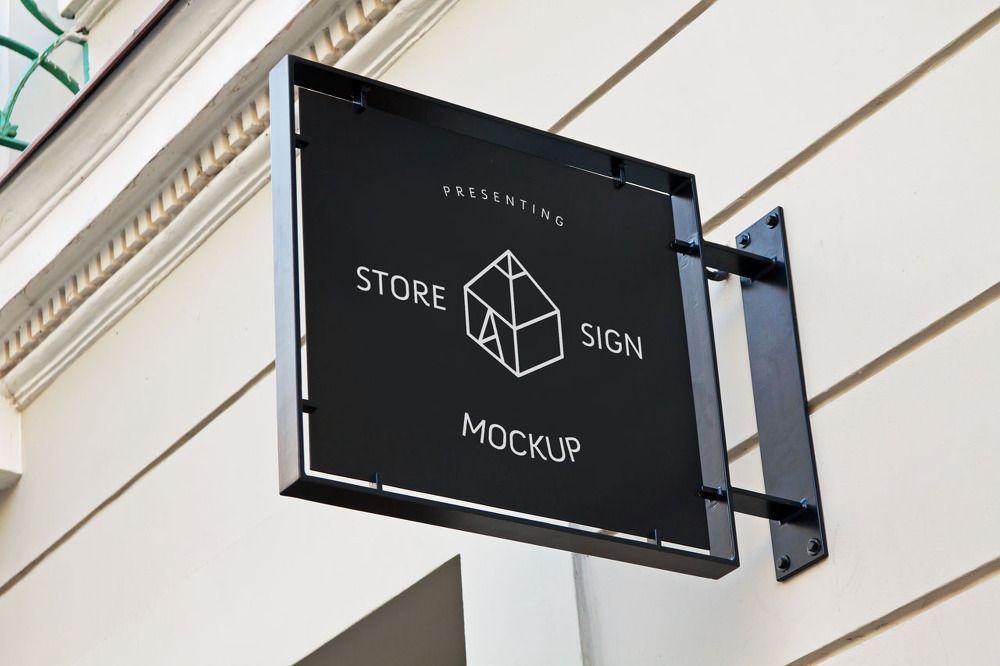 무료 돌출 간판 목업 PSD - Free Store Sign Mockup PSD | 招牌指示 ...