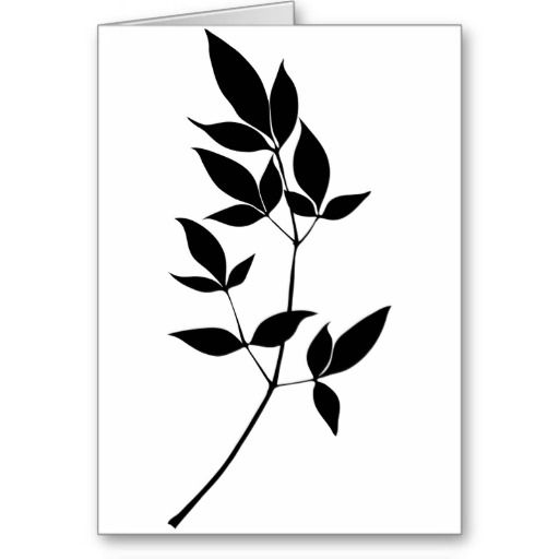 black amp white vector leaves branch silhouette card