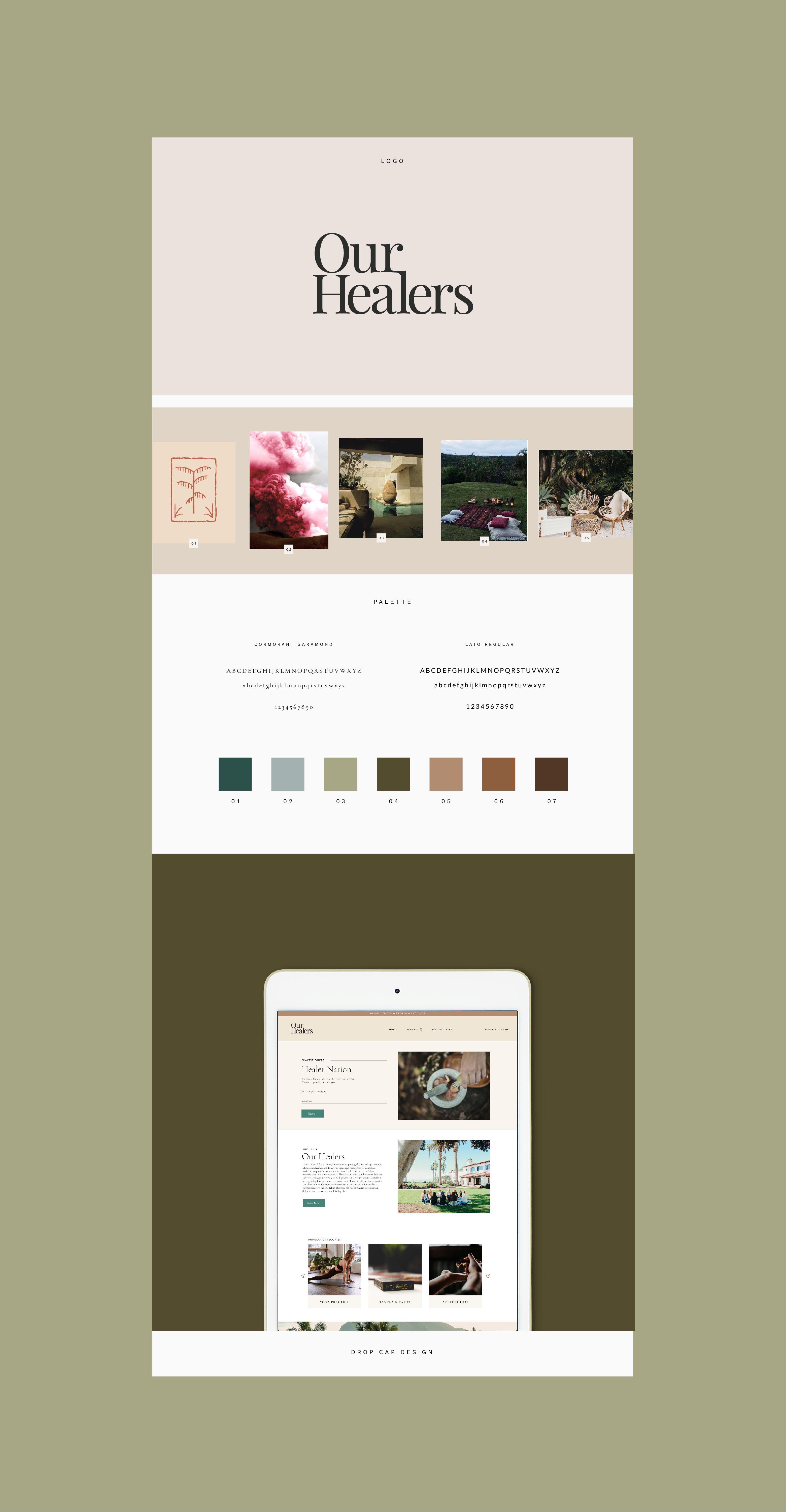 Our Healers Brand Design Branding Design Drop Cap Design Creative Entrepreneur Design