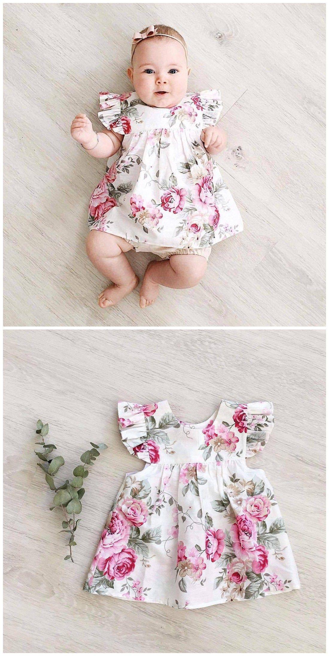 Baby Girls Kids Clothes Toddler Infant Summer Backless V Neck Floral Dress 1-6T