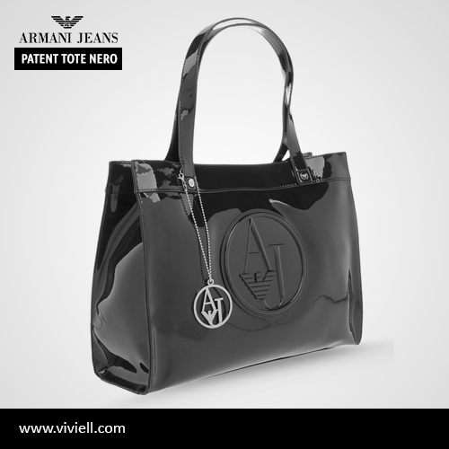 """Armani Jeans """"Top Handle Patent Tote Nero"""""""