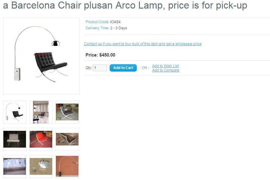 Prettystores Com Barcelona Chair Plus Arco Lamp Arco Lamps Barcelona Chair Lamp