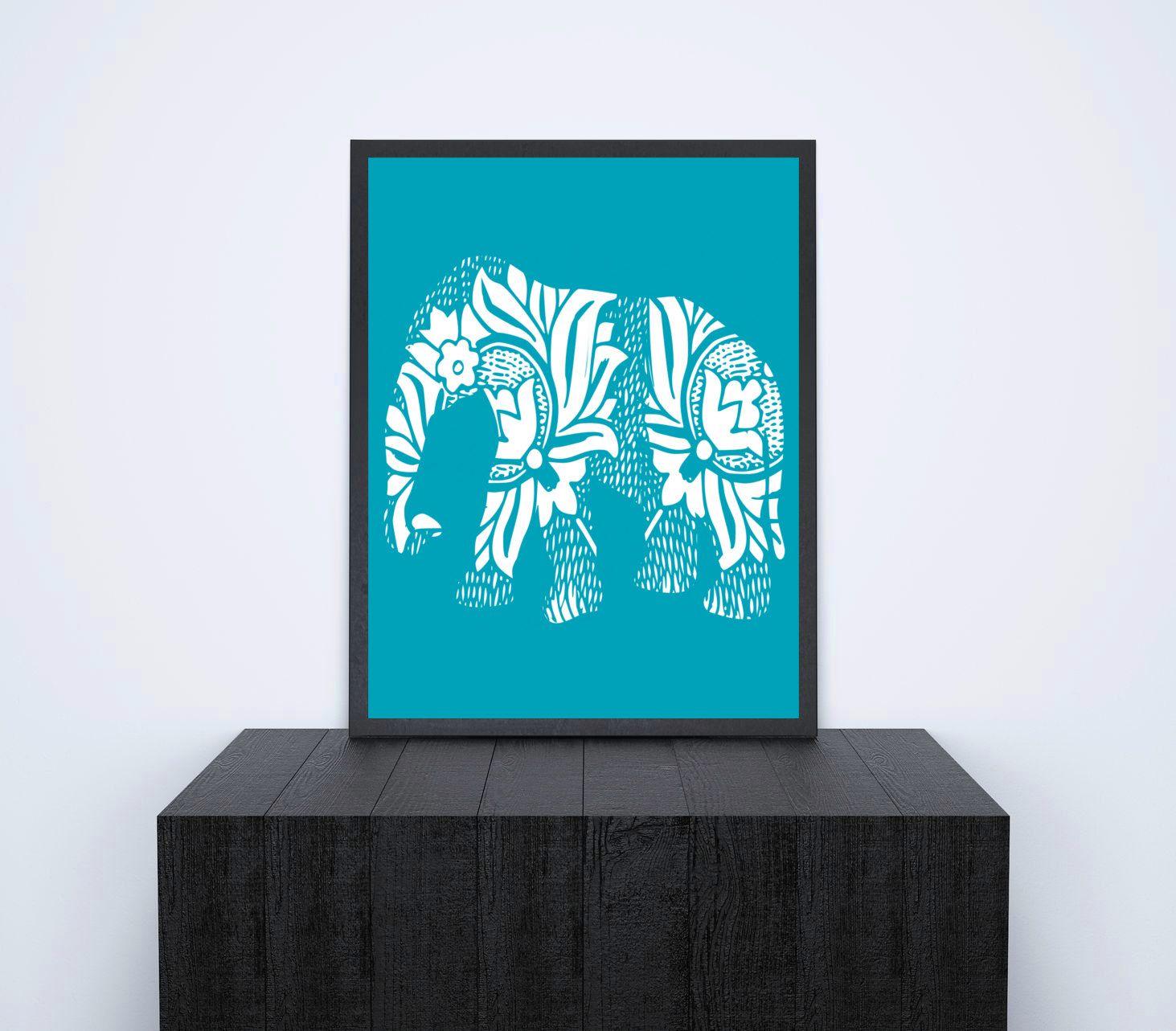 Instant Printable Safari Art, Elephant Floral Paisley Henna Design ...