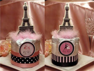 PINK POODLE In PARIS Themed Diaper Cake Centerpieces   Baby Shower Fav    LMK Gifts