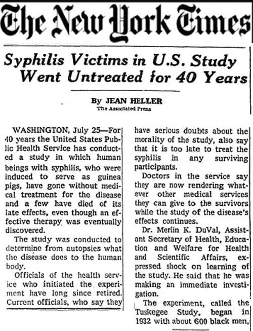 essay on the tuskegee syphilis studies Citation brandt, allan m 1978 racism and research: the case of the tuskegee  syphilis study the hastings center report 8(6): 21-29 published version.