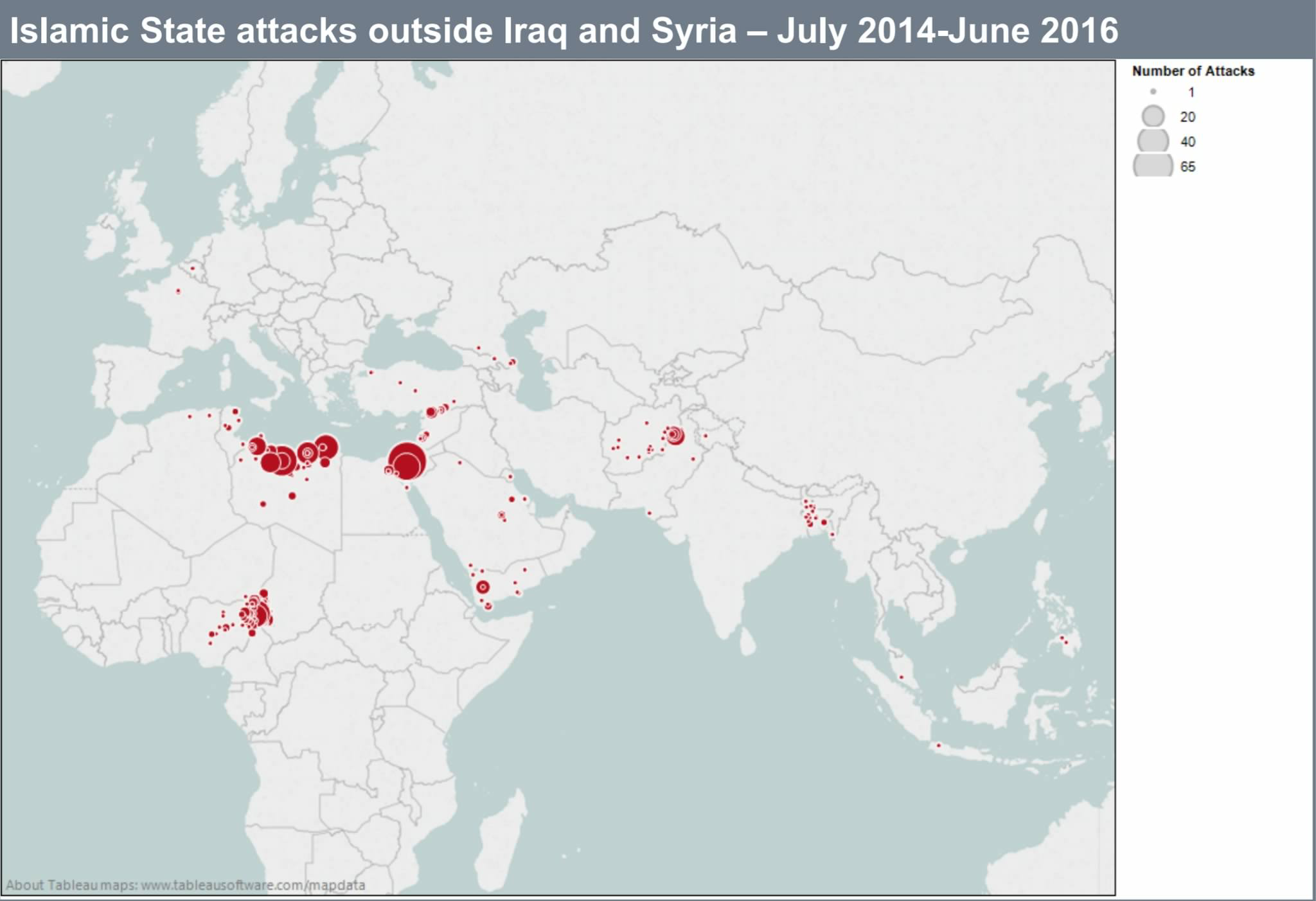 Map ISIS attacks outside Syria and Iraq By IHS Janes GEOINT