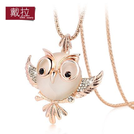 2015 DARA Fashion Jewelry cute rose gold plated chubby owl created opal pendant necklaces 195(China (Mainland))