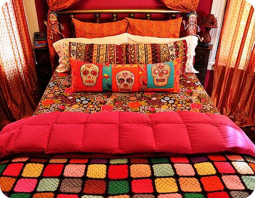Bedroom Bright Decor Orange Pink Skulls Bohemian Bedroom