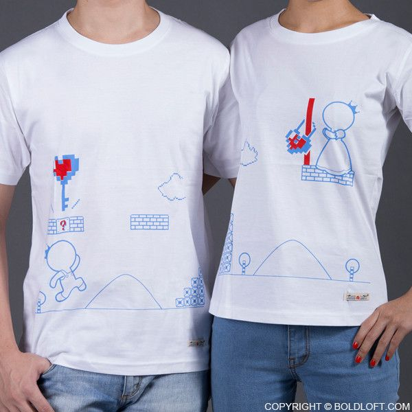 BoldLoft Key to My Heart couple t shirts. Perfect for video game lovers, featuring 2 video game characters, these matching couple shirts are the cutest way to say I love you to your loved ones.
