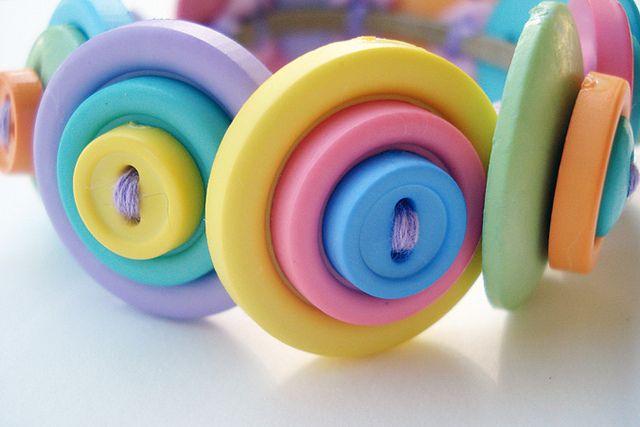 Button Bracelet- Rainbow Sherbet by myaphrodite/poor robin, via Flickr