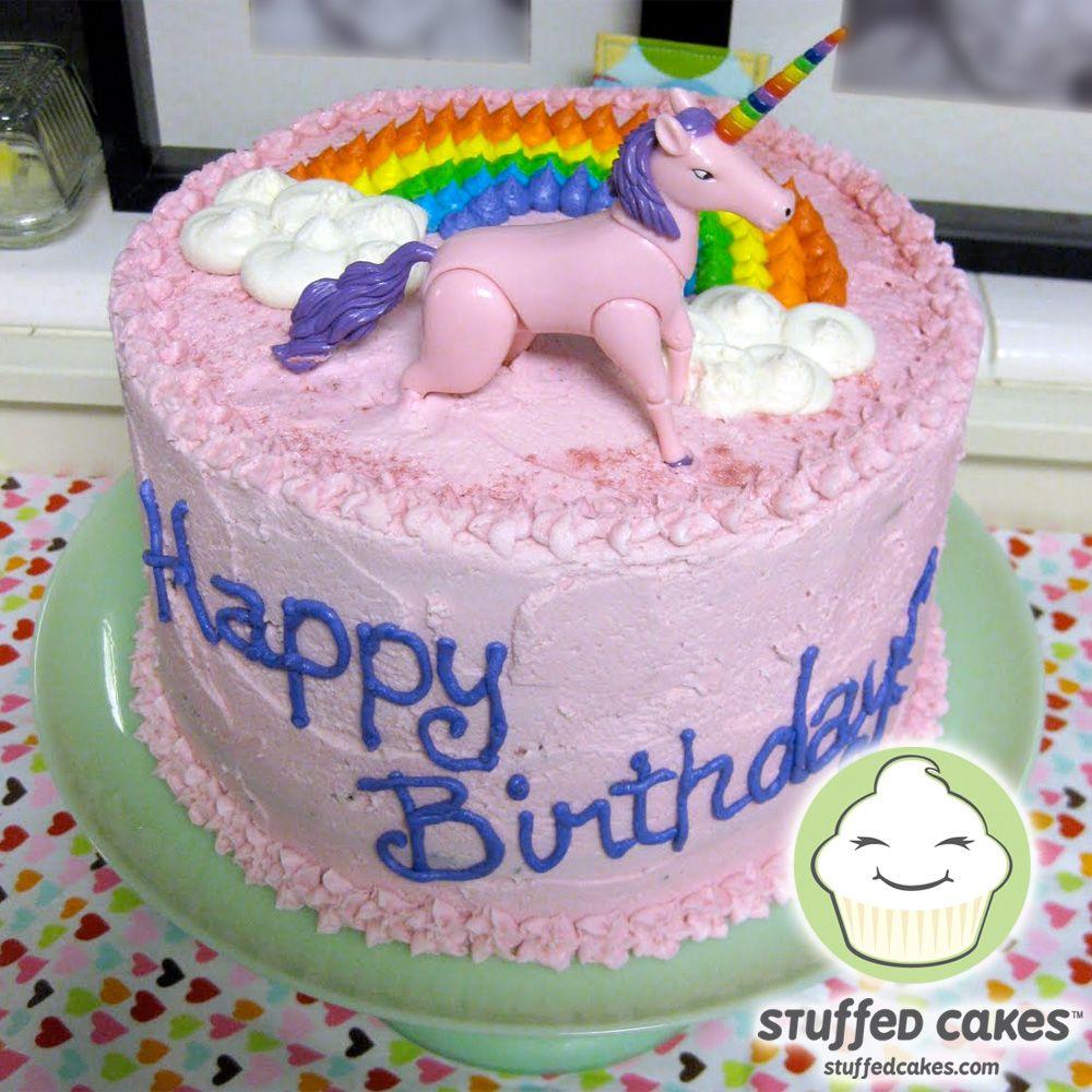 Stuffed Cakes Rainbow Cake with unicorn rainbow inside too if i
