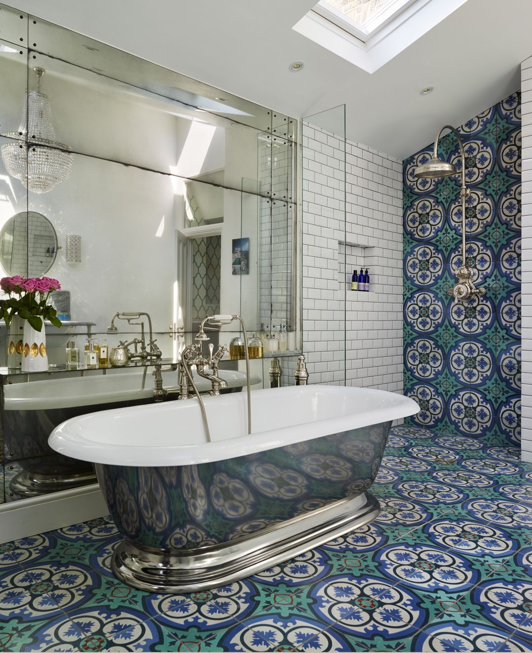 This colourful ensuite in a south-west London Victorian terrace
