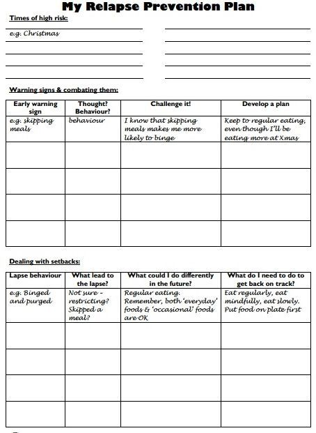 backonpointe Relapse, Worksheets and Therapy - action plan in pdf