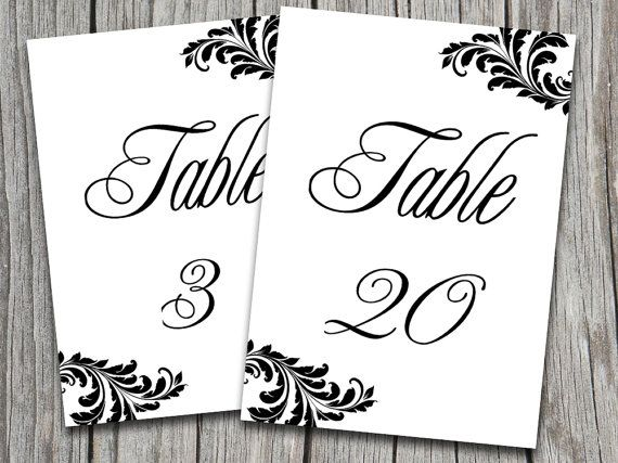 Victorian Wedding Table Number Template | Ornate Leaf Black White ...