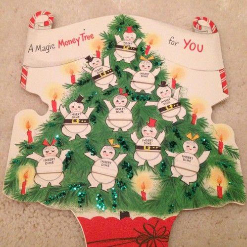 vintage hallmark magic money tree christmas card insert dimes into