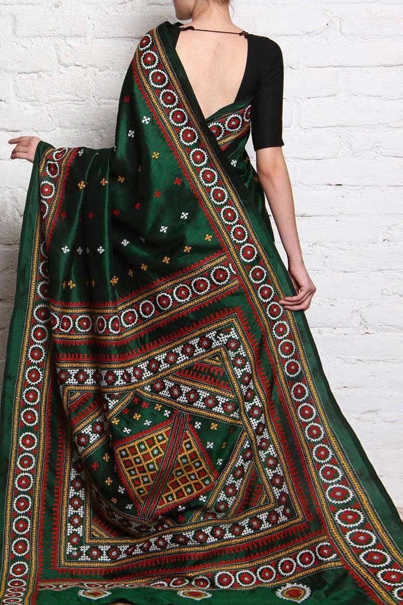 Hunter Green Bangalore Silk Embroidered Festival Saree Kutch Work