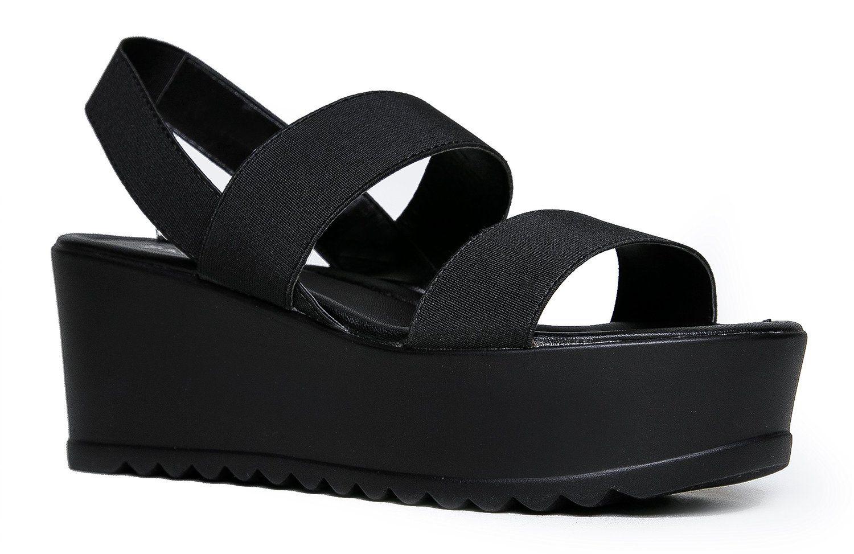 Women S Platform Slip On Sandal Pull On Open Peep Toe Fashion Chunky Platform Wedge Ankle Strap Shoe By J Ad Ankle Strap Shoes All Black Shoes Slip On Sandal