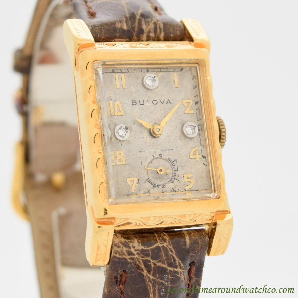 1940 S Vintage Bulova Rectangular Shaped 10k Yellow Gold Filled Watch Bulova Yellow Gold Gold Filled