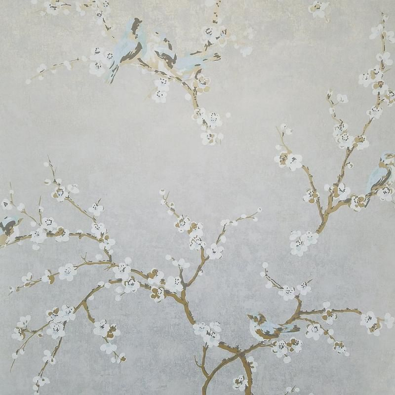 Birds And Blossoms On Silvery Gray Wallpaper In 2020