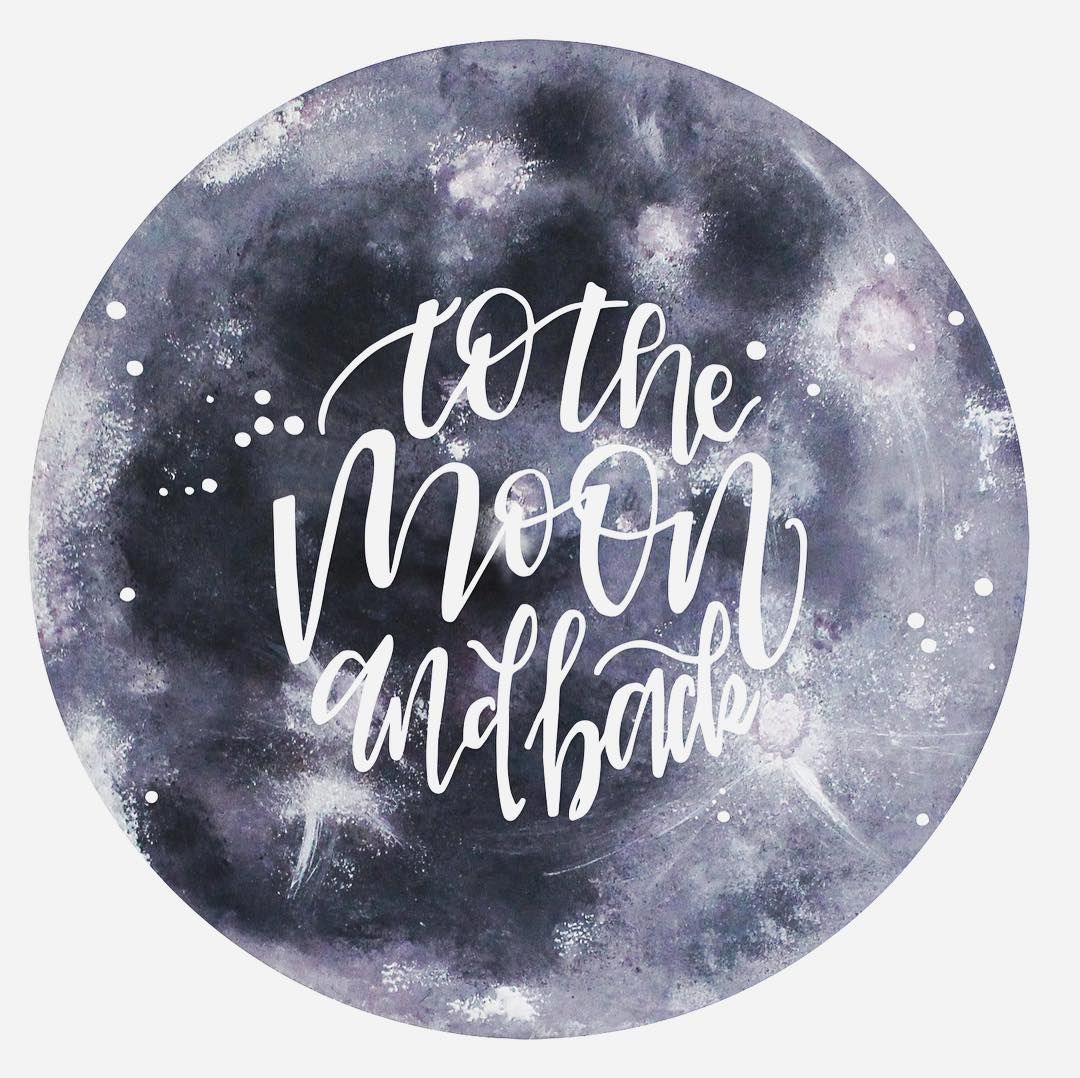 To The Moon And Back 3 Handlettering Vektorisiert Mond Mit