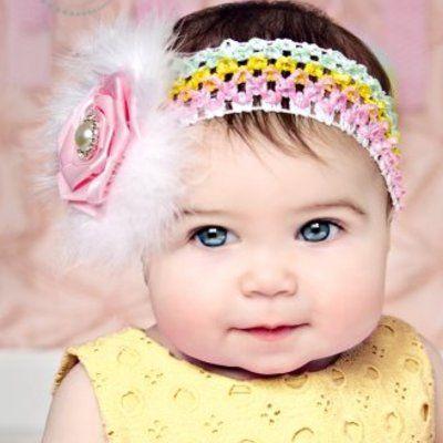 Stunning pastel rainbow headband with pink flower