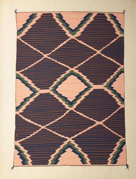 Navajo Blanket By Louis Ewing C 1935 1939 Porfolio Of Blankets Laboratory Anthropology In Santa Fe