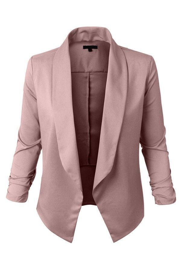 5d1f453aa05 Women Plus Size Lightweight Open Front Draped Tuxedo Blazer Jacket More